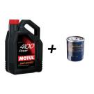 Pack vidange 5L huile MOTUL 4100 10W40 ou 15W50 + filtre à huile au choix
