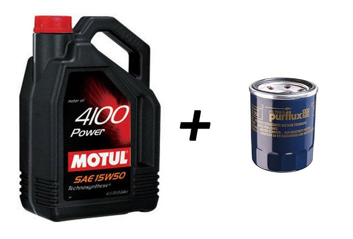 Pack vidange 5L MOTUL 4100 10w40 ou 15W50 + filtre à huile offert